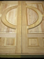 Wood double doors